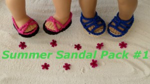 "Summer Sandal Pack 1 shoe crochet pattern american girl doll 18"" inch doll beach vacation gladiator"