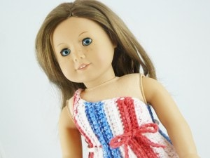 "One Shoulder Sundress dress clothes American Girl Doll 18"" inch bow button striped trendy"