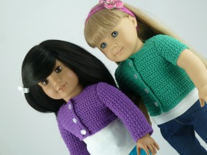 "Classic Cardigan crochet Pattern fits american girl 18"" inch doll purple green"