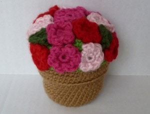 Amigurimi Potted Plant scrap yarn project crochet
