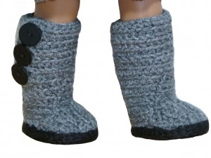 "mini sweater boots american girl doll 18"" inch ugg crochet pattern grey gray button shoes"