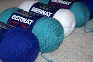 bernat super value yarn aqua royal blue white worsted