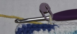 offset stitch marker crochet blue white yellow