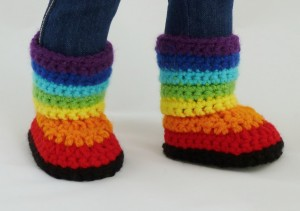 Rainbow Boots - Crochet Pattern -PDF File -18 inch dolls like American Girl