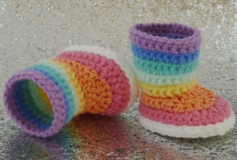 Kaleidoscope Rainbow Striped Boots Crochet Pattern Fits American