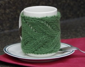 Lace Mug Cozy - Free Knitting Pattern