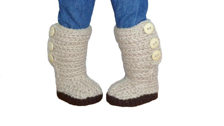 Mini Sweater Boots Crochet Pattern   Fits American Girl and other 18 inch Dol...