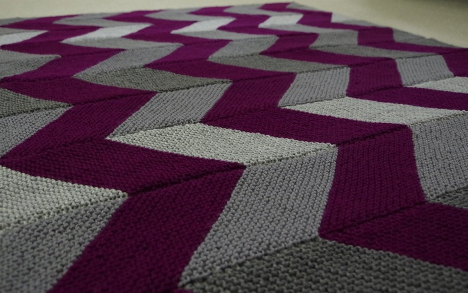 Finished Knitted February Afghan - YayForYarn.com