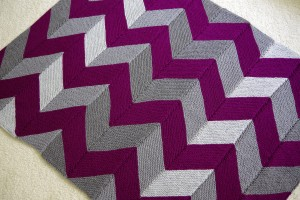Pink and Grey Chevron Knitted Throw - 12 Afghans In 12 Months Challenge