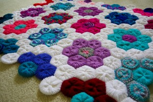 Hexagon Flower Afghan - Knitted on Addi Express Professional Knitting Machine