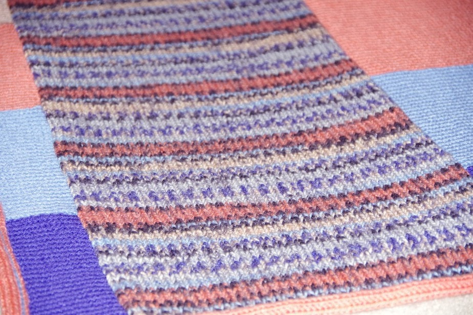 Easy Machine Knit Afghan - Made with self striping Yarn