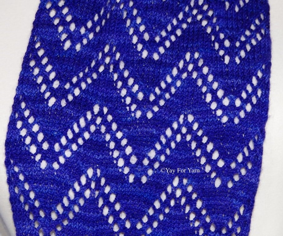 This closeup of the Double Chevron Lace Scarf really shows of the tonal qualities of the yarn.
