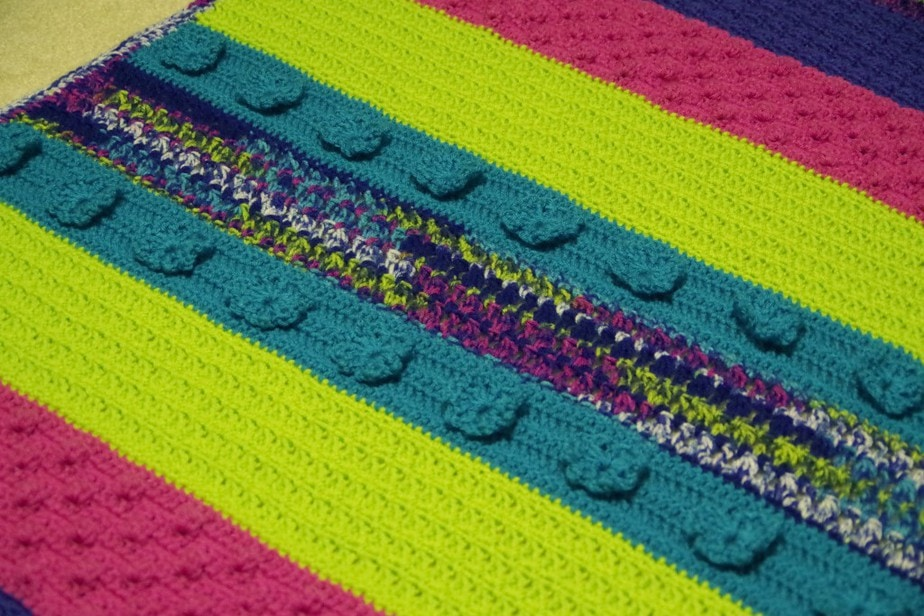 Textured Crochet Striped Afghan - Child Size