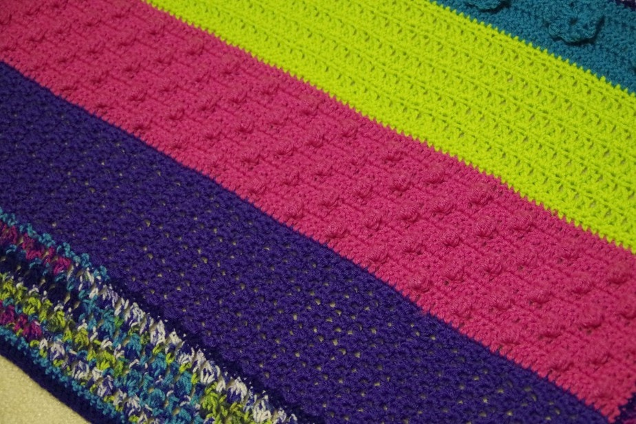 Striped Crochet Blanket with Bobbles - yayforyarn.com