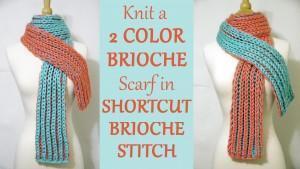 Easy 2 Color Brioche Scarf - Learn SHORTCUT 2 Color Brioche Stitch - FREE Knitting Pattern