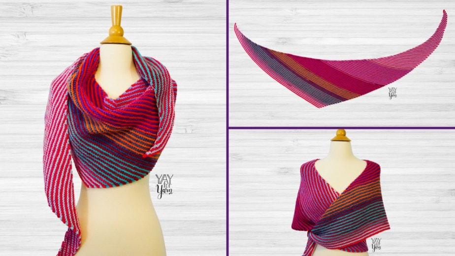 collage of double gradient knitted shawl on dressform