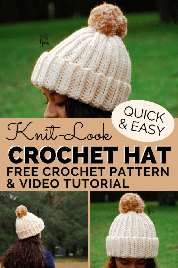 This beginner-friendly hat is crocheted in a simple stitch that looks like knitting! Made from a rectangle, it's quick & easy, made in LESS THAN 2 HOURS! #crochethat #knitlookcrochet #easycrochetpatterns #freecrochetpattern #crochetbabyhat