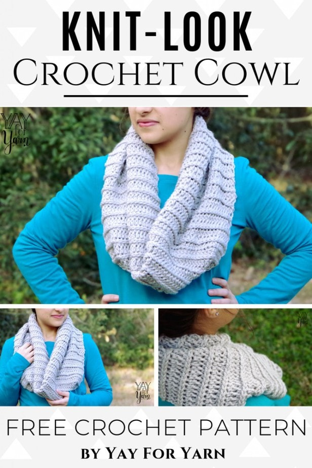 This beginner-friendly cowl is worked in a simple stitch that looks like knitting! Made from a rectangle, it's a quick and easy crochet project that can be made in just a few hours. #freecrochetpattern #knitlookcrochet #crochetcowl #infinityscarf