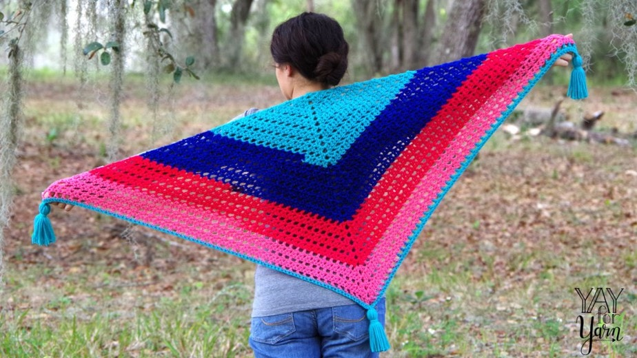 Candy Shop Shawl, made from 7 oz / 200 g of gradient cake yarn
