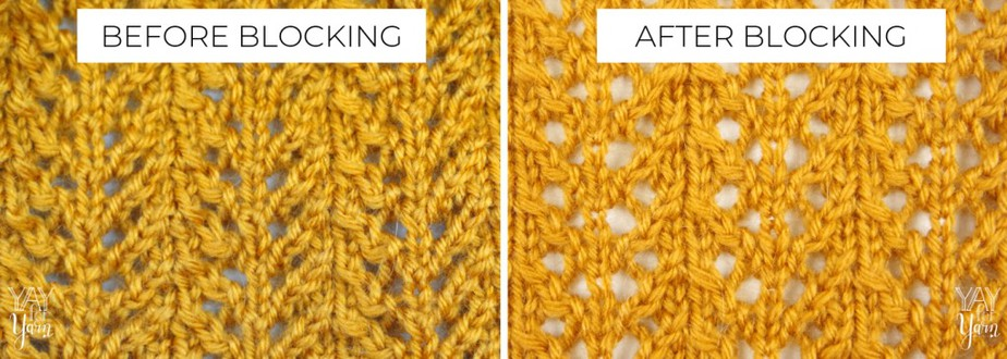 Look at the difference in the look of knitted lace after blocking!
