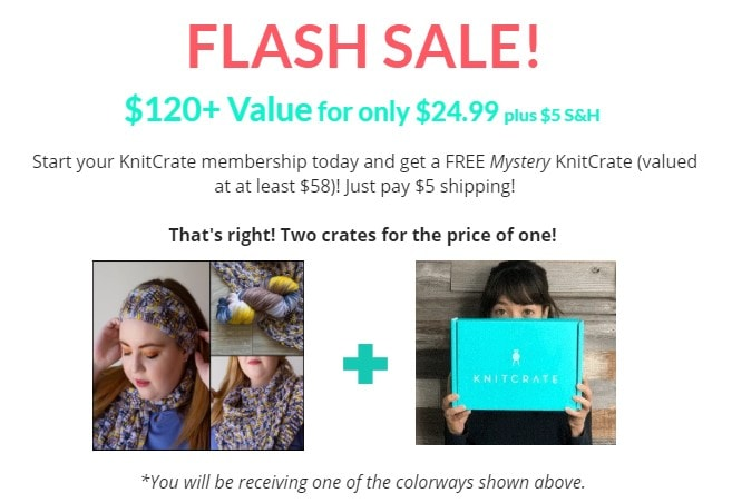 Sign up for a KnitCrate Membership, and get a FREE Mystery Crate. Buy one crate, get one free!