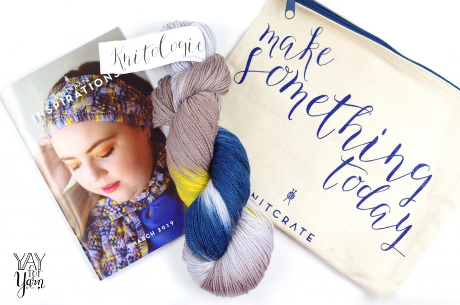 Affordable Yarn Subscription, including a small canvas project bag and knit and crochet pattern booklet.
