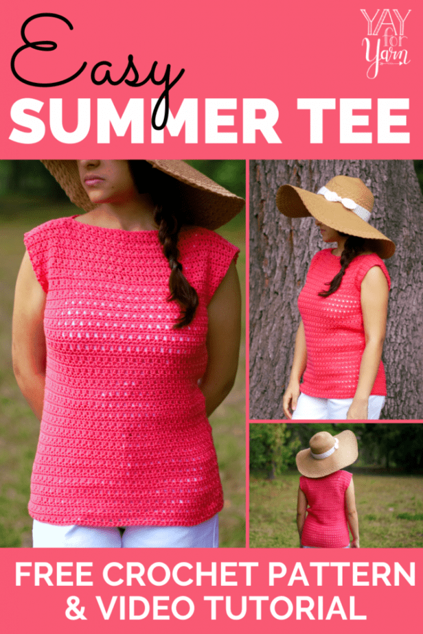 woman wearing pink crochet tee with wide sunhat