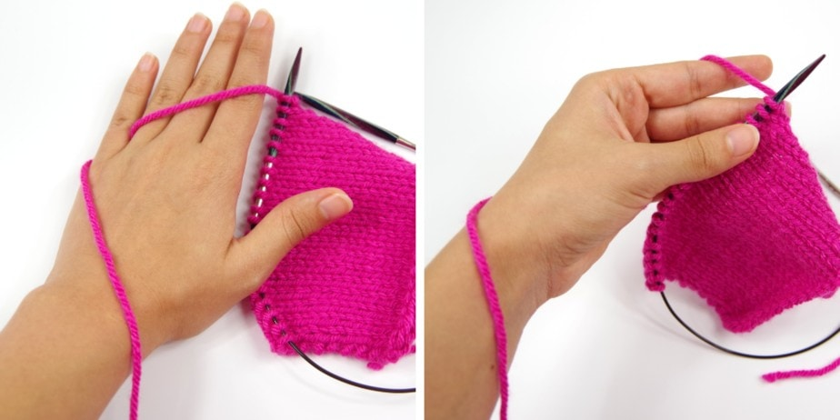 "how to do the continental ""wrist wrap"" method of tensioning the yarn"