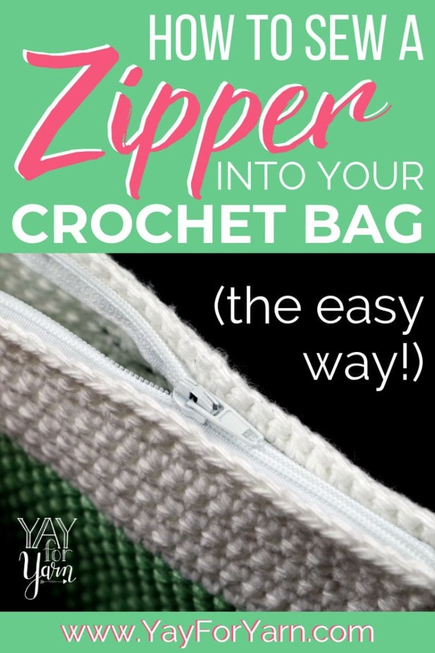 Pinterest image for How to Sew a Zipper into Your Crochet Bag