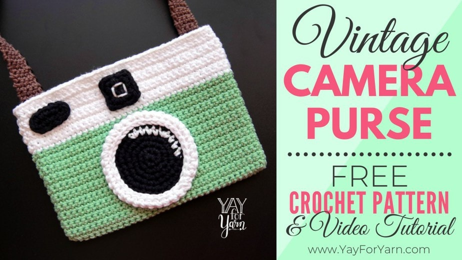Free Crochet Pattern for the Vintage Camera Purse - retro inspired instant Polaroid camera crochet bag