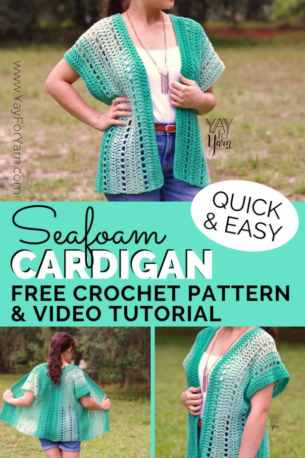 This breezy, lightweight cardigan is perfect for summer! It's an easy, beginner-friendly project you can make today, from just two crocheted rectangles. If you've never crocheted a garment before, this is the perfect place to start! #crochetsweaterpattern #summercrochet #summercrochetproject #springcrochet #plussizecrochetpattern #freecrochetpattern #crochetpatternsforbeginners #easycrochetpattern #cardigancrochetpattern #crochetcardigan #beachcrochet #kimonocardigan #crochetkimono #crochetsweater