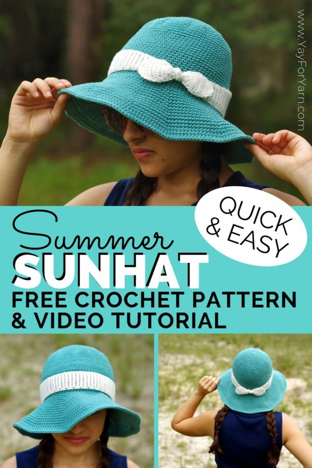 This simple sunhat will keep the bright sunlight out of your eyes all summer long!  Crocheted in washable cotton yarn, it's perfect for your next trip to the park, pool, or beach. #crochetsunhat #freecrochetpattern #crochethat #crochetbabyhat #crochettoddlerhat #summercrochet #beachcrochet #summercrochetpatterns #yayforyarn