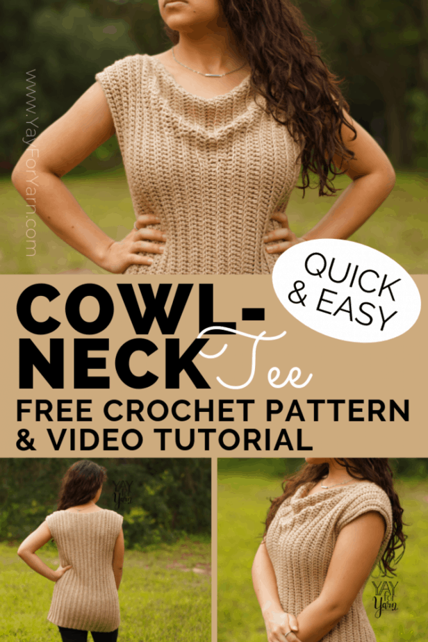 This simple, cowl-neck tee is made from just two rectangles!  It's a classic style that can be worn many different ways. Grab your favorite worsted weight yarn and make this top today! #yayforyarn #easycrochettop #easycrochetsweater #freecrochetpattern #summercrochet #plussizecrochet #crochetpattern #crochetcowl #beginnercrochetpattern