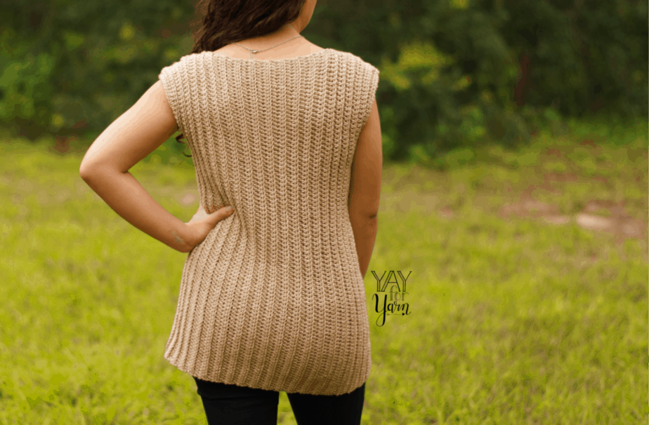 Easy ribbed sweater top - free crochet pattern