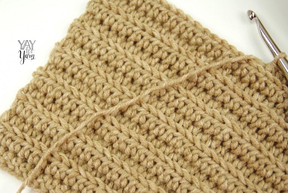 beige crochet fabric in Lion Brand Jeans yarn