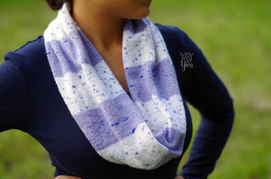 purple and white striped infinity scarf with purple speckles