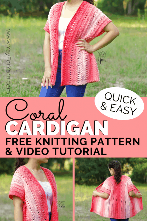 Can you knit a rectangle in a simple stitch pattern? Then you can knit the Coral Cardigan! Knit as a rectangle, it's a great knitted sweater pattern for beginners. #knittedsweaterpattern #knittedcardigan #yayforyarn #freeknittingpatterns #knittingpatternsforbeginners