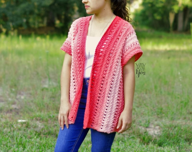Coral Pink knitted cardigan, easy beginner sweater made from a rectangle