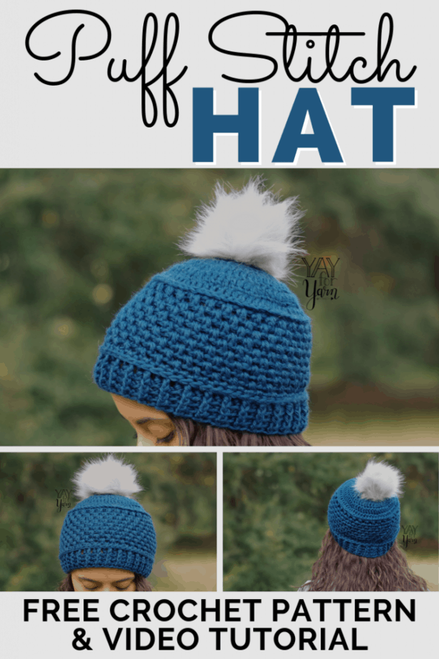 A decorative band of puff stitches adds beautiful texture & detail to this hat! Family-friendly pattern in 10 sizes, from Preemie to Adult Large. Great for fall and winter markets as well! #freecrochetpattern #crochethatpattern #crochethat #crochetmarketprep #crochetmarket #fauxfurpompom #yayforyarn #freebabyhatcrochetpattern #freekidshatcrochetpattern