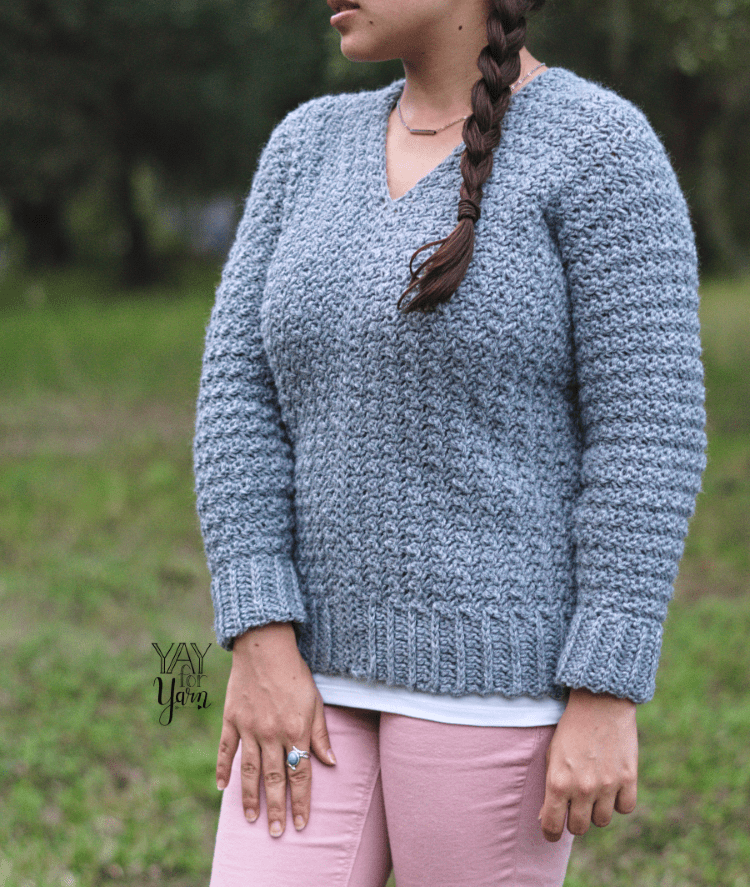 free crochet pattern pullover sweater from rectangles