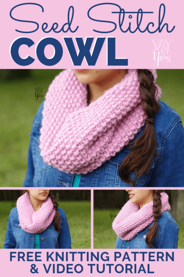 This thick, squishy cowl is sure to keep you warm through the fall and winter.  It's an easy knitting project for beginners that works up quickly! #freeknittingpattern #freeknittingpatternforbeginners #cowlknittingpattern #fallknittingpatterns #winterknittingpatterns #scarfknittingpatterns #yayforyarn #chunkyknits