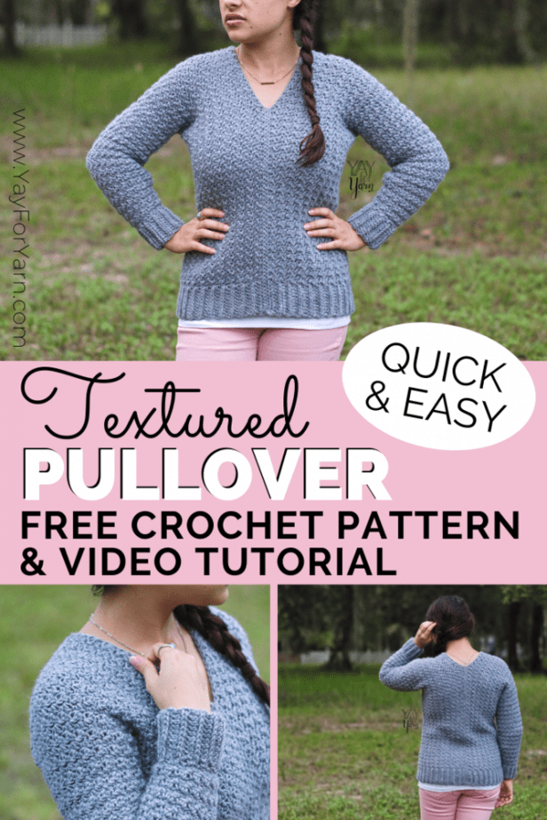 Looking for a classic crochet pullover pattern? This simple, beginner-friendly crochet sweater is made from rectangles, with minimal shaping. Click through for the free version of the written pattern with video tutorial. (Includes plus sizes, too!) #yayforyarn #freecrochetpattern #crochetpatternsforbeginners #crochetsweaterpattern #crochetsweater #crochetforbeginners #plussizecrochetpatterns #easycrochetpatterns