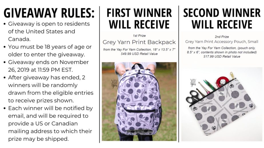 giveaway rules - enter to win a yarn print backpack or zipper pouch
