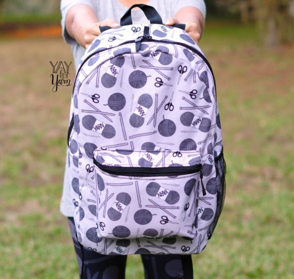 yarn print backpack grey from the yay for yarn collection
