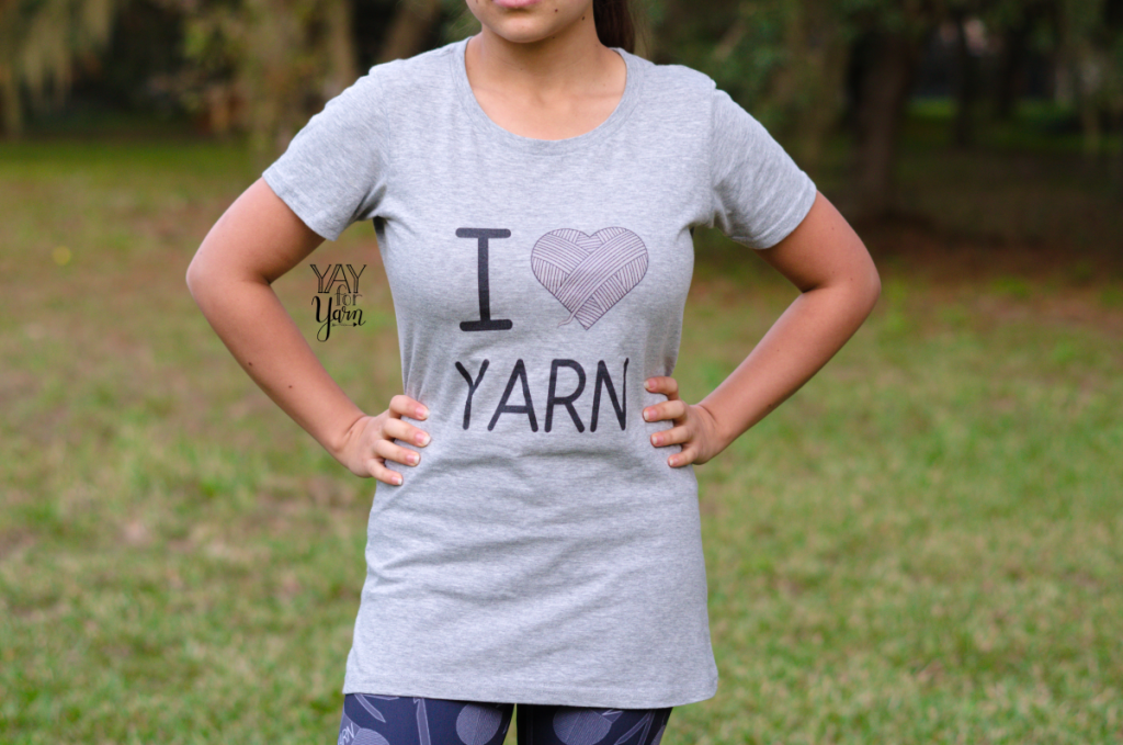 I Love Yarn tee - women's tee shirt for knitters and crocheters