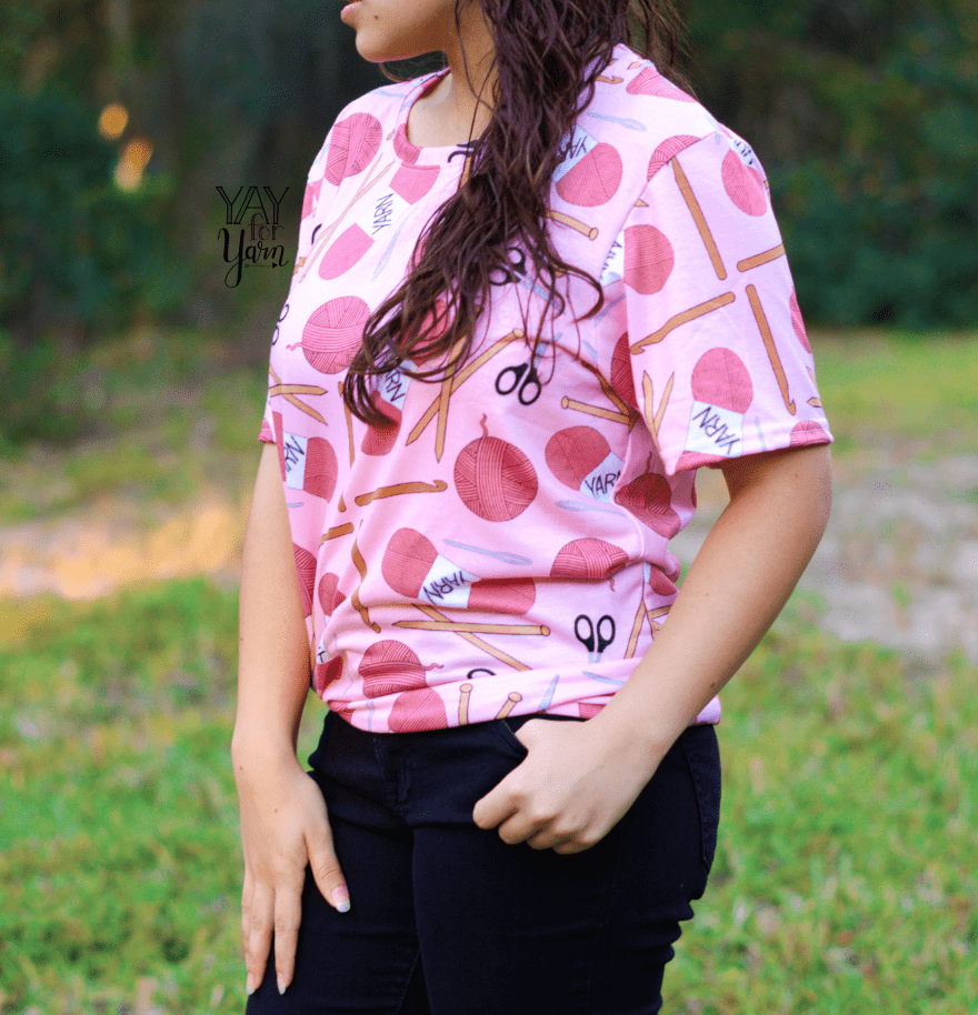 pink yarn print tee - the yay for yarn clothing collection