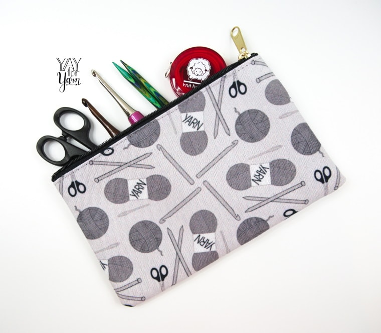 small accessory pouch for crochet hooks, tools, and small items