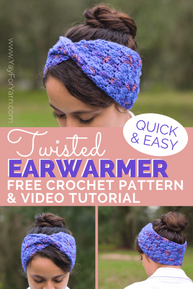 Need a free crochet pattern for a quick winter gift? My Twisted Earwarmer is made from a simple rectangle. It works up very quickly, with no shaping! The super-stretchy stitch makes it very comfy to wear, and it's great for keeping your ears warm when it's chilly out. Ready to make your own Twisted Earwarmer? Click through to get the free written pattern! #yayforyarn #crochetearwarmer #crochetheadband #crochethat #freecrochetpattern #crochetpattern #crochetutorial