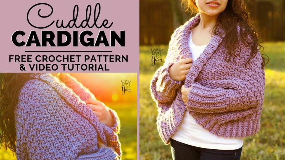 Cuddle Cardigan - Free Crochet Blanket Sweater Pattern for Beginners - Yay For Yarn