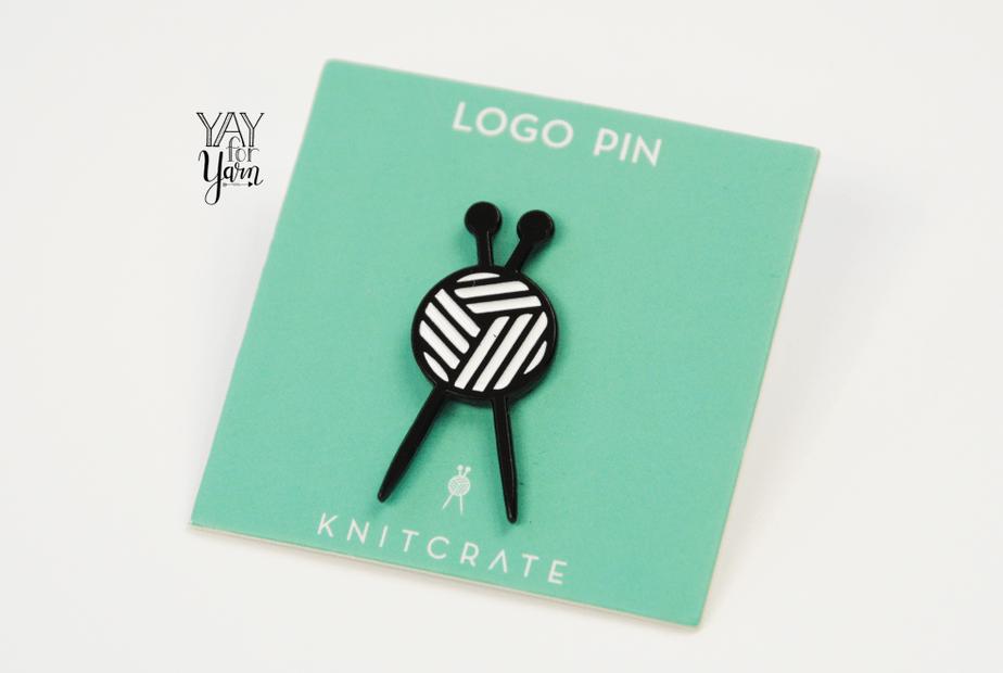 black and white knitcrate logo pin